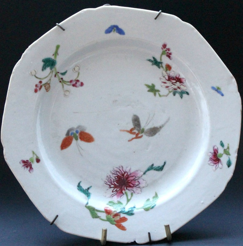 Antique Chinese  Polycrome Enameled Dish 17th  18th  Century