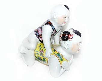 Large Vintage Chinese Polychrome Porcelain Girl and Boy Pillow 14'' x 13'' RARE