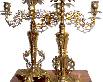Pair of Vintage Japanese Ornate Solid Brass with Dragons Candelabras Made in Japan