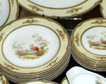 Vintage Noritake China  CHELSEA Bird Pattern Set 53 pieces Dinnerware Set Service for 8 Japan China Dinnerware Set for 8 RARE 1930's