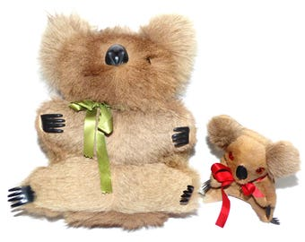 Vintage Hand Made Musical Koala Bear w/ Sankyo Wind Up Real Kangaroo Fur Australian Stuffed Animal