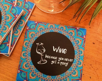 Ceramic Tile Coasters - Boho Wine Set Pony