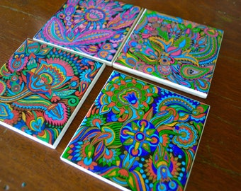 Ceramic Tile Coasters - Coloured Boho Collection