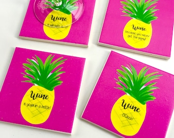 Ceramic Tile Coasters - summer wine pinapples