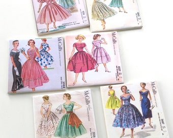 Ceramic Tile Coasters - 6 Pack vintage McCall's 1950's dress patterns mixed