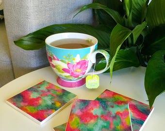 Ceramic Tile Coasters - watercolour