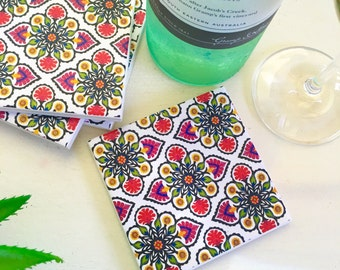 Ceramic Tile Coasters - Boho Design