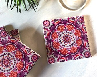 Ceramic Tile Coasters - Boho Mandala Design