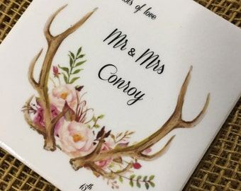 Ceramic Tile Coasters - custom wedding favours