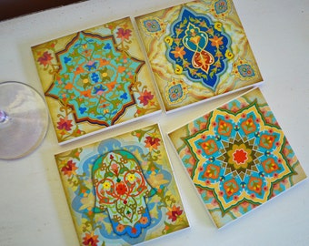 Ceramic Tile Coasters - Morrocan Designs