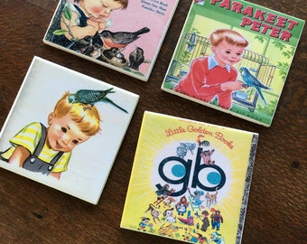 Ceramic Tile Coasters - Vintage Little Golden Book Birds