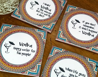 Ceramic Tile Coasters - Vodka Lovers