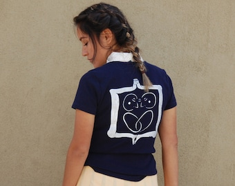 """Thrifted Ralph Lauren Tee // Original """"2in1"""" Screen Print Design in White Ink on the Back // Size Medium // Navy BLue"""