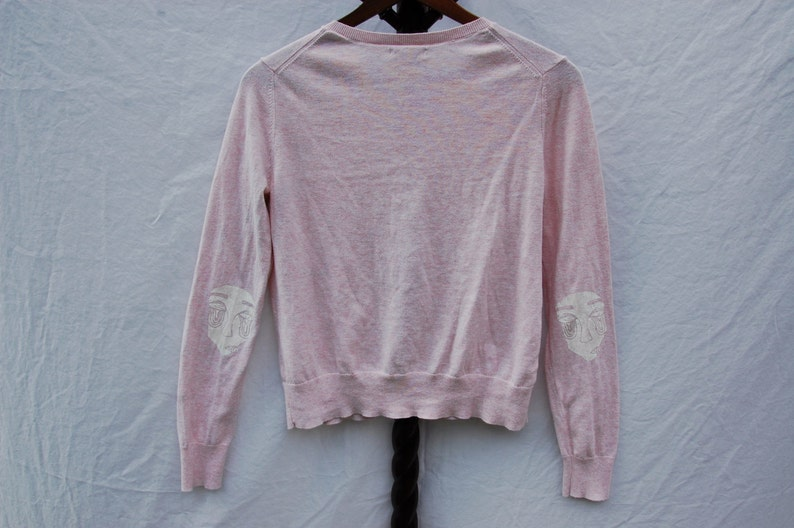 Thrifted Gap Brand Cardigan  Original No Face Screen Print Design Printed on Elbows in White Ink  Size Large  Light Pink