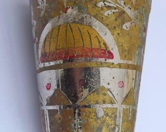 Antique Lassi Cup Handmade Engraved Floral Arabic style Vintage