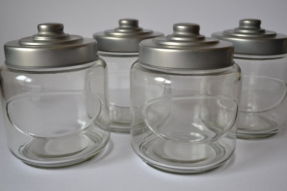Glass Bathroom Storage Containers Jars With Metal Lid Etsy