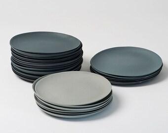 Plates porcelain gray set