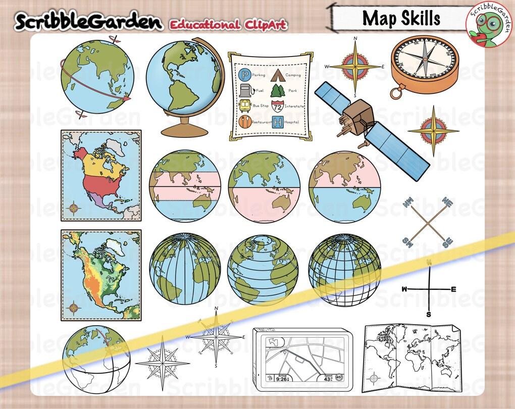 Karte von Fähigkeiten Geographie ClipArt | Etsy