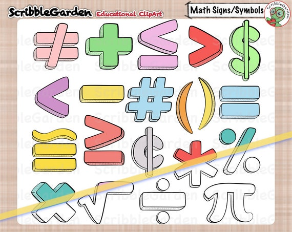 Math Signs And Symbols Clipart Etsy