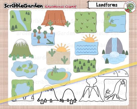 landforms geography clipart from scribblegarden on etsy studio rh etsystudio com types of landforms clipart River Clip Art