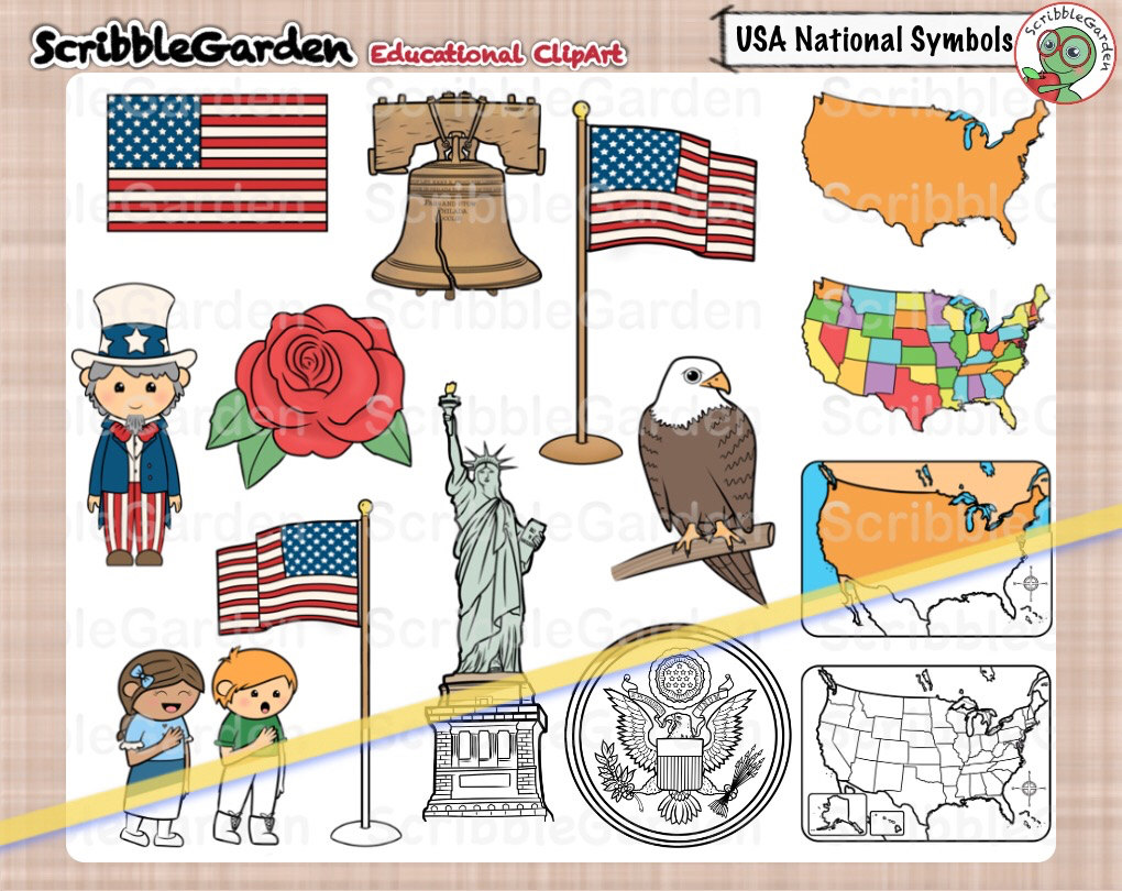 Usa National Symbols Clipart Etsy