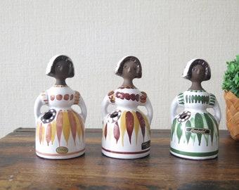 Sweden Columnar Glass Vase Vintage Hand Painted Swedish Girl on Tall Folk Art