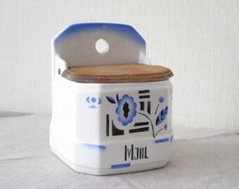 Czechoslovakia Porcelain Vintage Ceramic Flour Salt Kitchen Container MJOL  (flour) Porcelain White Blue Kitchen Storage, Salt Container @130