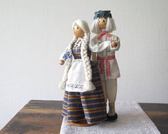 Souvenir Figurine Latvian Ethnic National Costume Polyresin