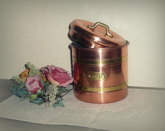 Vintage Copper Coffee Jar with Lid Jug Container Rustic Scandinavian Decor ,,Kaffe,, Kitchen Storage Retro