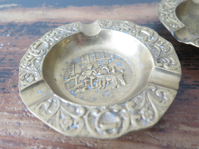 Vintage Brass Ashtrays Set of 2 Solid Brass Vintage Round Ashtray Medieval Scenes @228-66