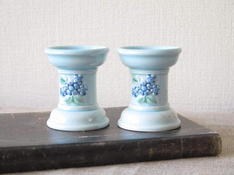 Pair of Ceramic Candle Holders by Deco Helsingborg Vintage Swedish Light Blue Floral Ceramic Decor @228-73