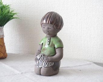 Vintage Figurine by Elbogen, Ceramic Figurine Boy with Dog, Scandinavian Pottery @120