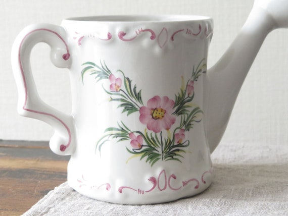 Home & Living Ceramic Watering Can Floral Can Pink Flowers Shabby Country Garden Decor Gardener's Gift Plant Care @240-5 Outdoor & Gardening