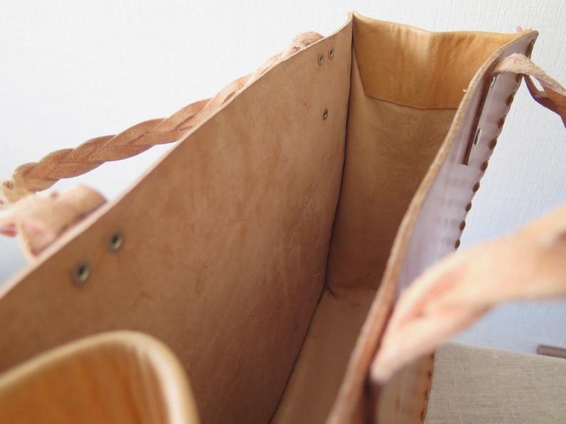 Hand Sewn Handmade @135 Vintage Genuine Leather Tote Bag Large Tote Bag Caramel Brown Handbag Market Bag Thick Leather Tote