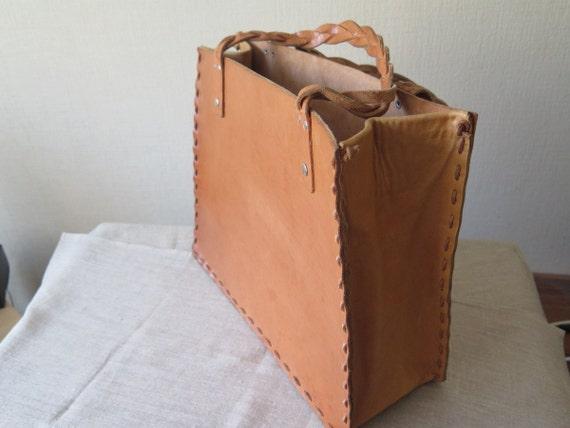 Vintage Genuine Leather Tote Bag, Large Tote Bag C