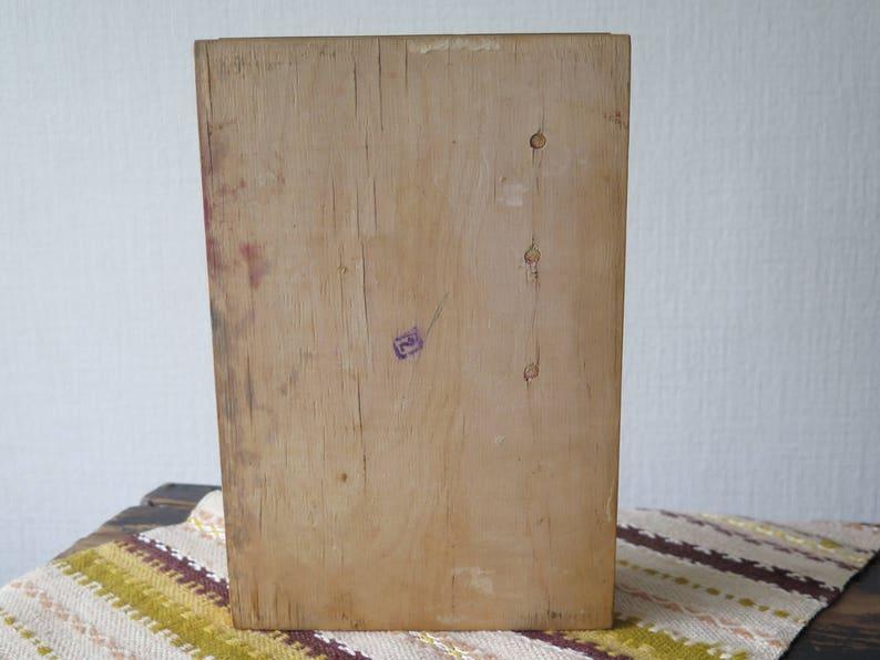 Vintage Wood Trinket Sewing Box Hand Carved w Metal Embossed Top Jewelry Box USSR Soviet Era Folk Art 1970s Wood Box Storage Box @226