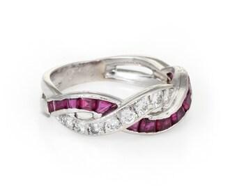 fe6c7f12f Tiffany & Co Ruby Diamond Band Ring Vintage Platinum Estate Fine Jewelry