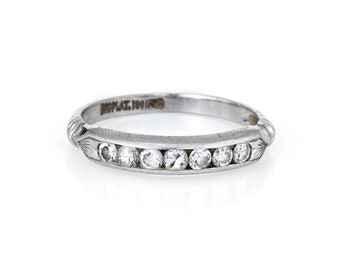 b1bcdeae8 Antique Deco Diamond Ring Platinum Vintage Fine Jewelry Wedding Band Sz 6
