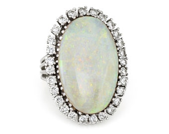 1a134bfad Large Opal Diamond Ring Vintage 14k Gold Big Oval Cocktail Estate Fine  Jewelry