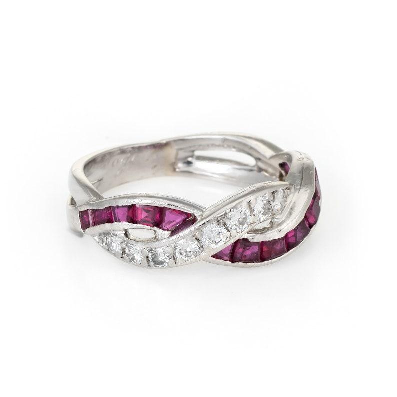 2a2260db2 Tiffany & Co Ruby Diamond Band Ring Vintage Platinum Estate | Etsy