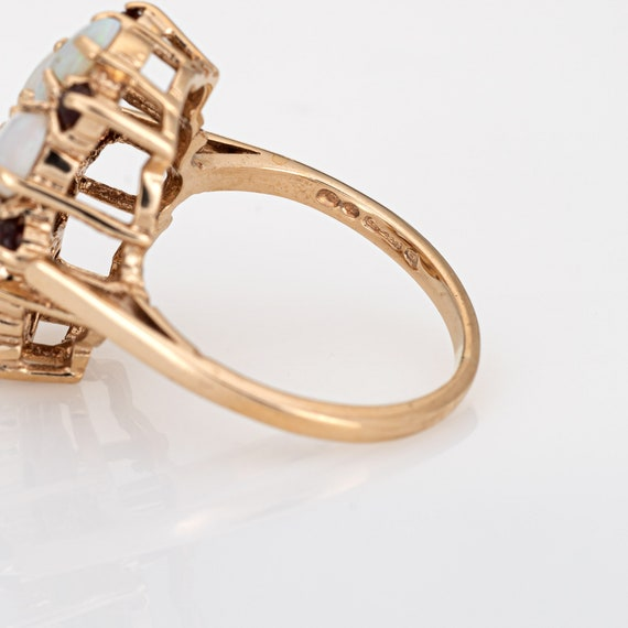 Opal Garnet Cocktail Ring Vintage 9k Yellow Gold … - image 7