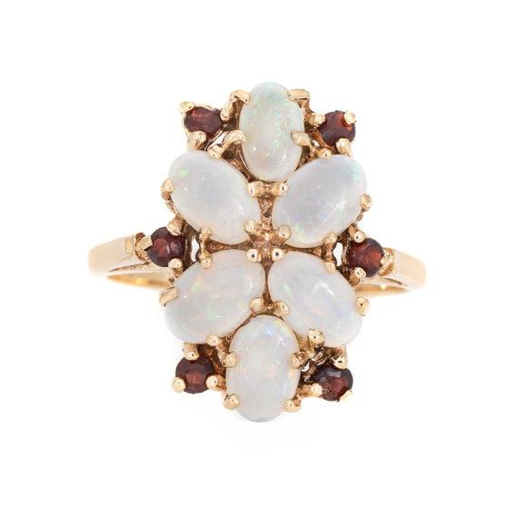Opal Garnet Cocktail Ring Vintage 9k Yellow Gold … - image 1