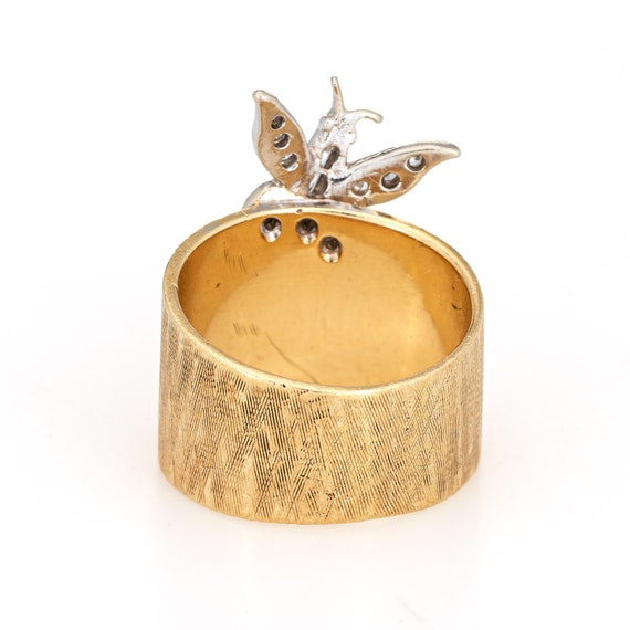 X4470 Vintage 14K Yellow Gold Diamond Butterfly Ring