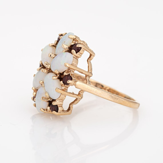 Opal Garnet Cocktail Ring Vintage 9k Yellow Gold … - image 4