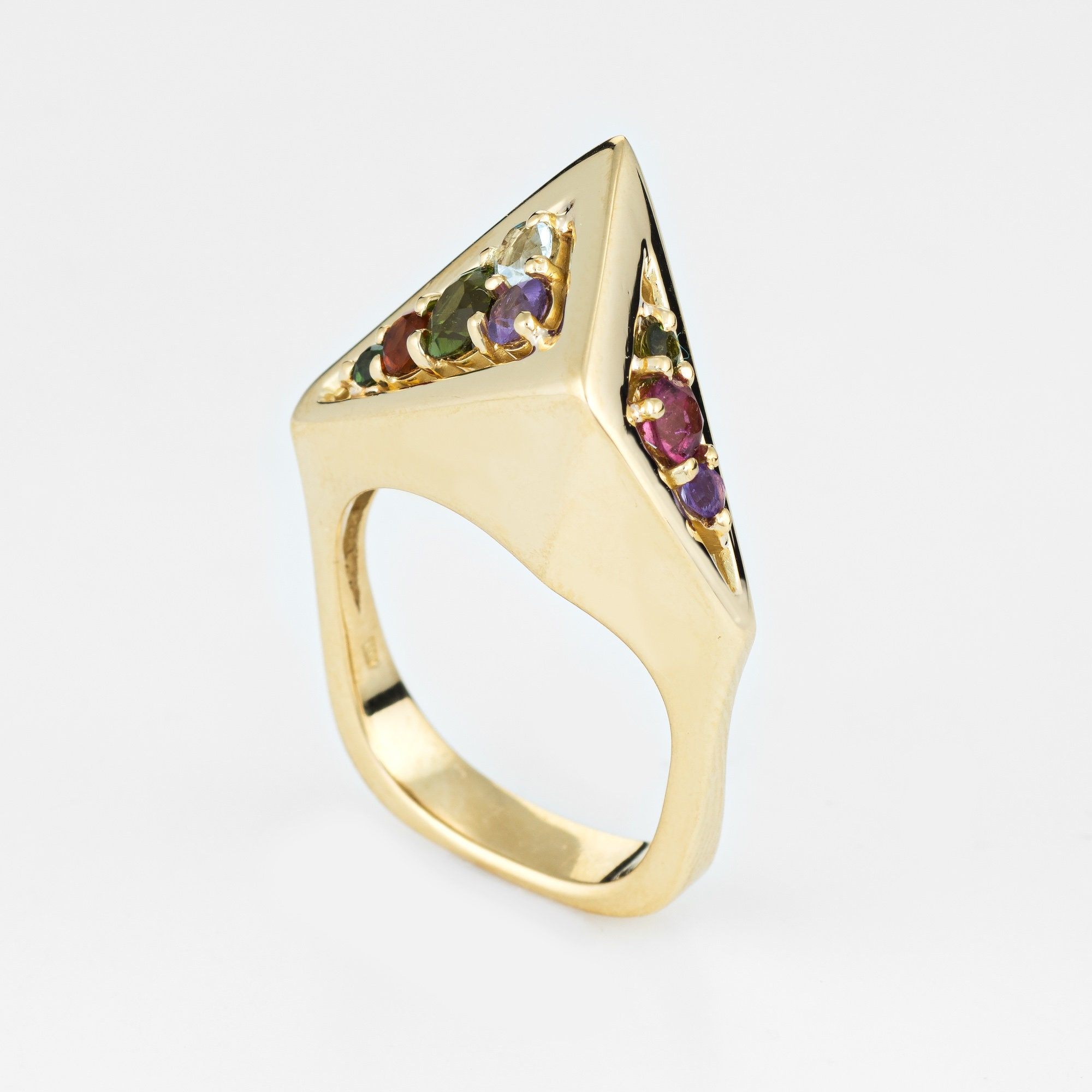 Vintage H Stern 80s Rainbow Gemstone Ring 18k Yellow Gold Geometric Jewelry Sz 6, used for sale