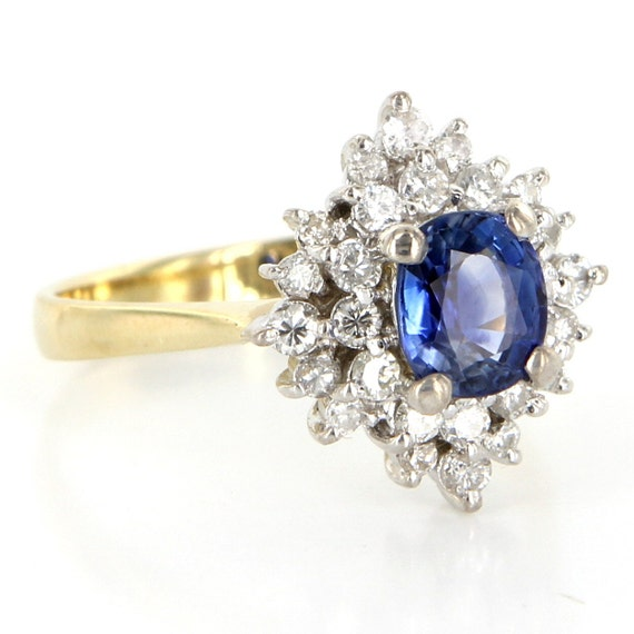 dbf6e8a48ce Vintage 14 Karat Yellow White Gold Diamond Natural Sapphire   Etsy