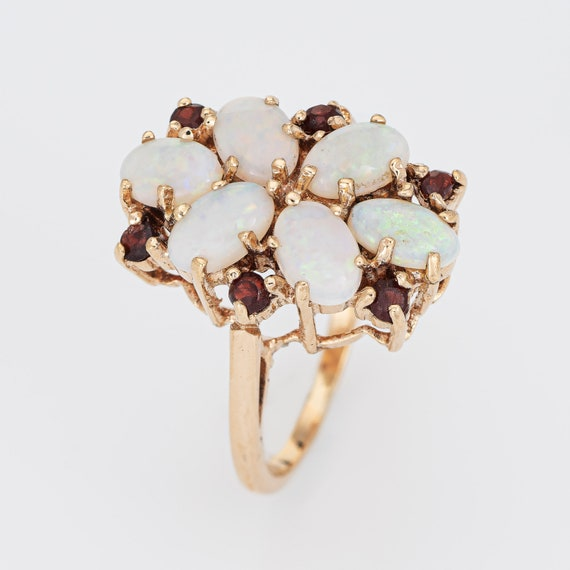 Opal Garnet Cocktail Ring Vintage 9k Yellow Gold … - image 2