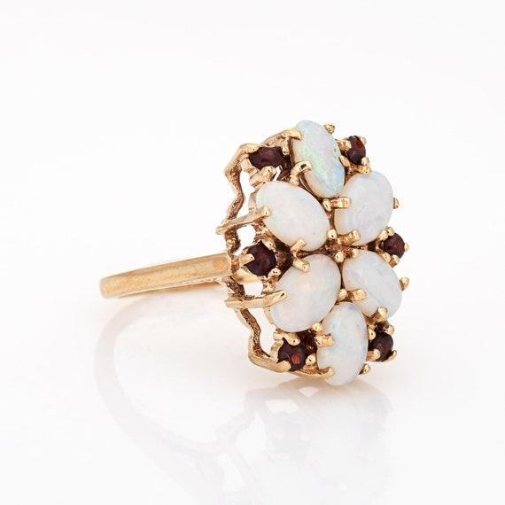 Opal Garnet Cocktail Ring Vintage 9k Yellow Gold … - image 3