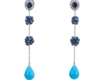 Turquoise Sapphire Diamond Long Dangle Earrings Estate 18k White Gold Jewelry