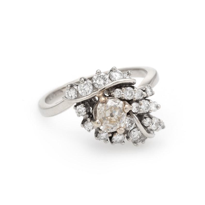 01e96de394a 1.50ctw Diamond Cocktail Ring Vintage 14k White Gold Estate   Etsy